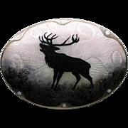 Large Antique Sterling Enamel Norway Guilloche Scenic Elk Brooch Ostrem
