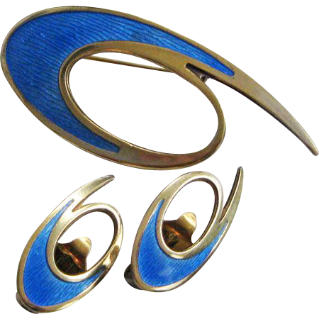 Vintage Sterling Enamel Norway David-Andersen Modernist Brooch and Earrings Set
