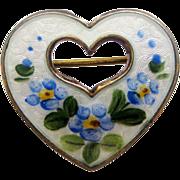 Vintage Sterling Enamel Norway Heart Brooch by OPRO