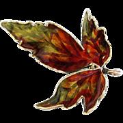 Sterling Enamel Norway Leaf Brooch by Hroar Prydz