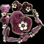 Vintage David-Andersen Waterlily Set Purple Bracelet Brooch Earrings Sterling Enamel Norway