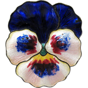 Antique Sterling Enamel Norway Pansy Brooch by Gustav Hellstrom ca. 1910 BLUE