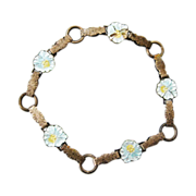 Antique F.A. Hermann Sterling Enamel Pansy Bracelet Children's to Adult Rare