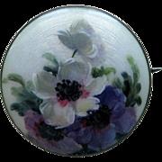 Vintage Aksel Holmsen Sterling Enamel Norway Guilloche Brooch Hand-Painted Flowers