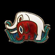 Vintage David-Andersen Elephants Brooch Pin Sterling Enamel Norway