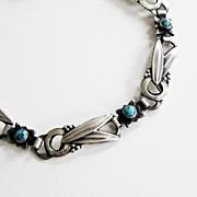 Vintage 830 Silver Denmark Bracelet Hugo Grun Skonvirke Arts & Crafts Turquoise