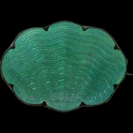 Antique Sterling Enamel Norway Guilloche Brooch Green