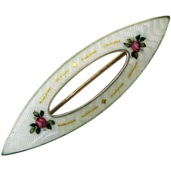 Early David-Andersen Sterling Enamel Norway Guilloche Brooch Edwardian