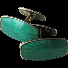 Vintage 1950s-1960s Mid-Century Modern Cufflinks Sterling Norway Enamel by Albert Scharning - Red Tag Sale Item