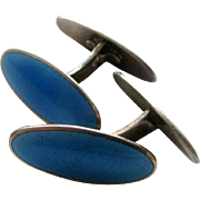 Vintage 1950s-1960s Mid-Century Modern Blue Cufflinks Sterling Norway Enamel by Jacob Tostrup