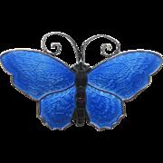 Vintage Sterling Enamel Norway Butterfly Brooch by David Andersen, Large, Book Piece