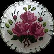Sterling Enamel Norway or Denmark Flowers Brooch Pin