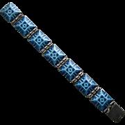 Stunning Vintage Tostrup Sterling Enamel Panel Bracelet Blue Aqua Art Deco
