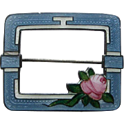 Vintage Art Deco Sterling Enamel F.A. Hermann Large Pin with Rose