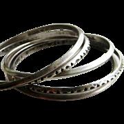 Set of 5 Vintage Sterling Silver Norway Erling Christoffersen Bangle Bracelets