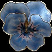 Large Vintage Sterling Enamel David Andersen Norway Pansy Brooch Blue