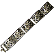 Antique David-Andersen Norway 830 Silver Dragestil Lions Heavy Panel Bracelet Arts and Crafts