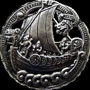 Antique Elvik Norway 830 Silver Viking Brooch Dragestil Longboat
