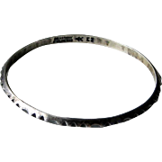 Vintage Sterling Silver Norway Erling Christoffersen Bangle Bracelet with Notched Pattern