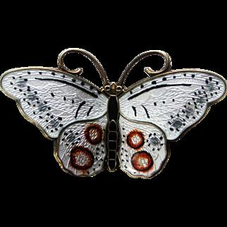 Beautiful Sterling Enamel Norway Butterfly Brooch Hroar Prydz Hand-painted