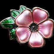 Vintage David-Andersen Sterling Enamel Flower Brooch Pin Pink