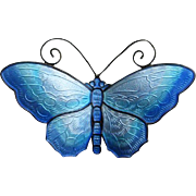Vintage Sterling Enamel Norway Butterfly Brooch in Shades of Blue by David Andersen, Large