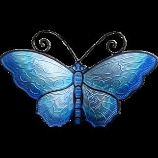 Vintage Sterling Enamel Norway Butterfly Brooch in Shades of Blue by David Andersen, Large, Book Piece