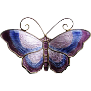 Vintage Sterling Enamel Norway Butterfly Brooch in Shades of Purple by David Andersen, Large
