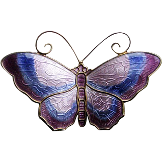 Vintage Sterling Enamel Norway Butterfly Brooch in Shades of Purple by David Andersen, Large, Book Piece