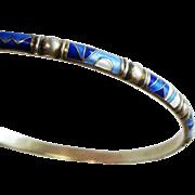 Vintage Mid-Century Modernist Sterling Enamel Norway Jacob Tostrup Bangle Bracelet Blue Geometric