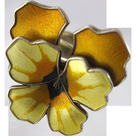 Vintage David-Andersen Sterling Enamel Norway Yellow Pansy Ring