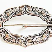Antique Art Nouveau Sterling Top Floral Buckle Brooch