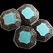 Antique Edwardian Sterling Enamel Cufflinks Aqua Blue Basse-Taille