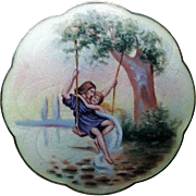 "Antique Gustav Gaudernack Sterling Enamel Norway Hand-Painted Brooch ""Lovers on a Swing"" - Book Piece"