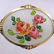 Sterling Enamel Norway Arne Nordlie Guilloche Brooch Pin Roses