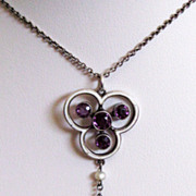 Antique Edwardian 800 Silver Enamel Amethyst Pendant Lavaliere Necklace