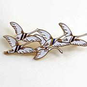 Vintage Sterling Enamel Denmark Erik Magnussen Flying Swans Brooch Pin Geese