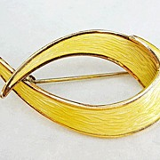 Vintage Sterling Enamel Norway Ivar Holt Modernist Brooch Pin Yellow