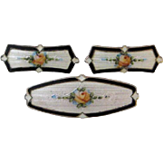 Antique Edwardian F.A. Hermann Sterling Enamel Collar Brooch and Lingerie Pin Set of 3