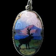 Vintage Sterling Enamel Norway Gustav Hellstrom Scenic Pendant Elk