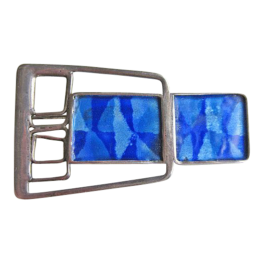 Vintage Modernist Sterling Silver Enamel Brooch by Norman Grant of Scotland