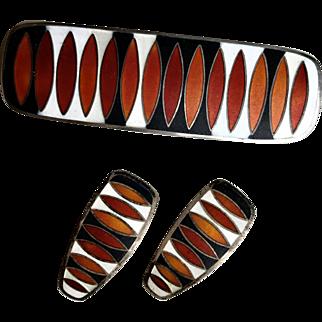 Vintage David-Andersen Sterling Matte Enamel MCM Mid-Century Modernist Brooch Earrings Set Red
