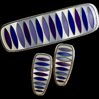 Vintage David-Andersen Sterling Matte Enamel MCM Mid-Century Modernist Brooch Earrings Set Purple