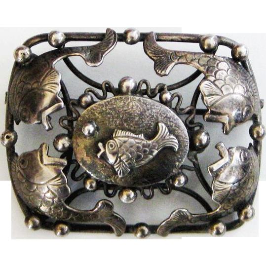 Vintage 830 Silver Denmark Fish Brooch Pin
