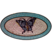 Antique Edwardian F.A. Hermann Sterling Enamel Brooch Pin Butterfly