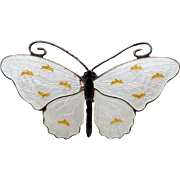 Vintage Sterling Enamel Norway Butterfly Brooch by O.F. Hjortdahl, AS FOUND