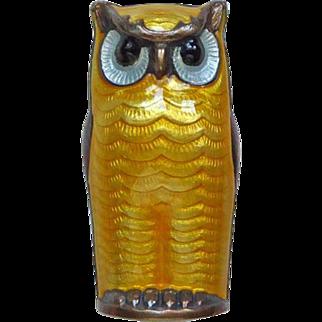 Vintage Sterling Enamel Norway Owl Brooch Pin by David-Andersen Yellow