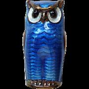 Vintage Sterling Enamel Norway Owl Brooch Pin by David-Andersen Blue