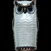 Vintage Sterling Enamel Norway Owl Brooch Pin by David-Andersen White