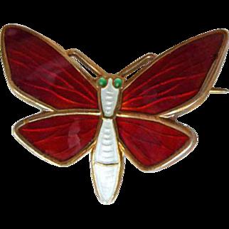 Vintage Sterling Enamel Norway Butterfly Brooch by Einar Modahl Red